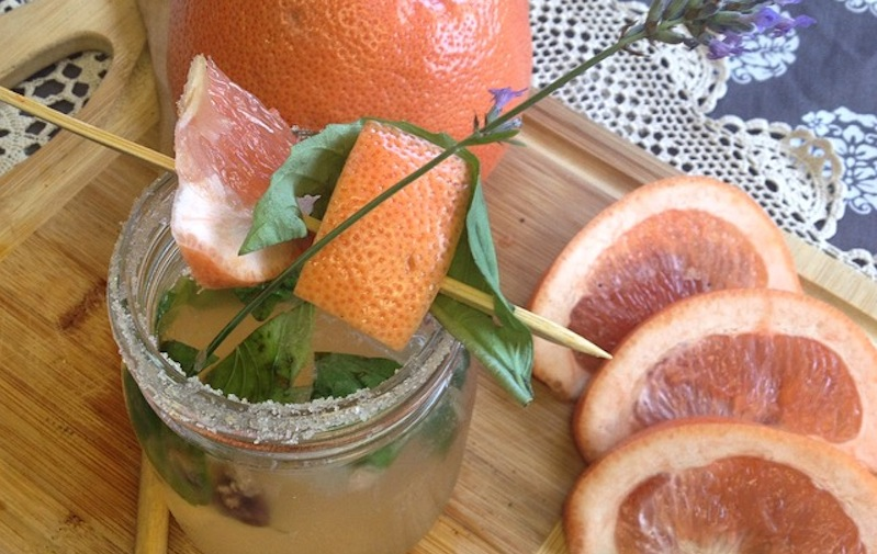 "LAVENDER GRAPEFRUIT ""MOCKTINI"" with BASIL & CRACKED PEPPER"
