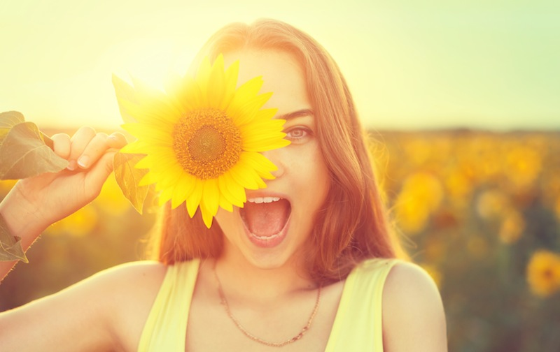 Girl With Sunflower Happy