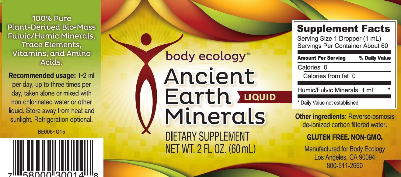 Body Ecology Canada Ancient Earth Minerals Liquid - Label